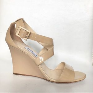 Like new Jimmy Choo nude patent wedges sandals 8.5